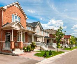 suburban houses all in a row