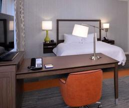 guest room at hampton inn and suites east greenbush