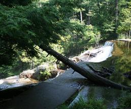 view of shelving rock falls