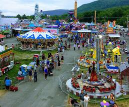 aerial view of fair rides and attractions