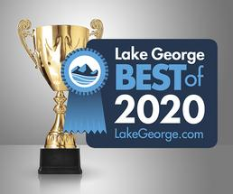 trophy with 2020 best of lake george badge