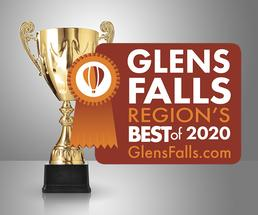 trophy with 2020 glens falls region's best badge