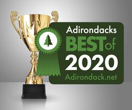 trophy with 2020 best of the adirondacks badge