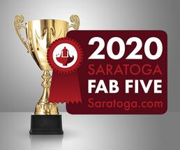 trophy with 2020 fab five badge