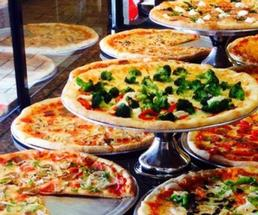 pizzas on display counter