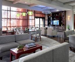sofas and sitting area in hotel lobby