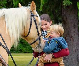 mom, kid, horse