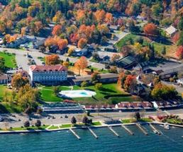 aerial view of Lake George in the fall