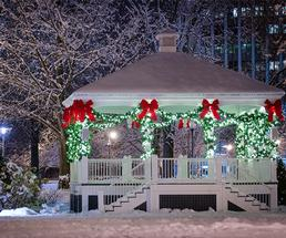 glens falls bandstand after fresh snow decorated for the holidays