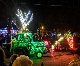 tractor with holiday lights on it
