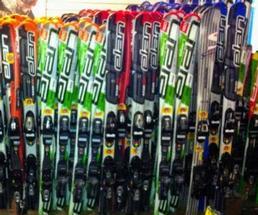 skis on display