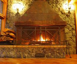A crackling fire in a beautiful fireplace