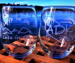 Lake George-themed wine glasses