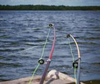Two cast fishing poles over water