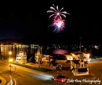 Fireworks going off in the Village of Lake George