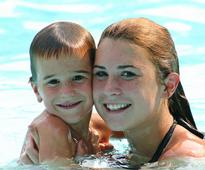 Mother and Son in community pool