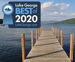 dock on lake george with 2020 best of badge