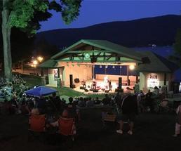 concert at dusk in shepard park amphitheatre