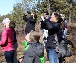 group of people birdwatching in a nature area
