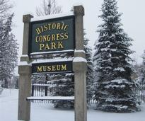 congress park sign in winter