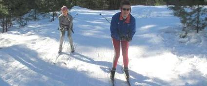 two cross country skiers