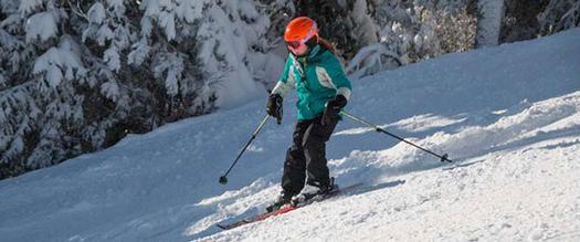 a kid skiing