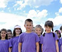kids in purple t-shirts
