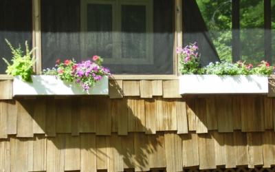 flower boxes outside porch
