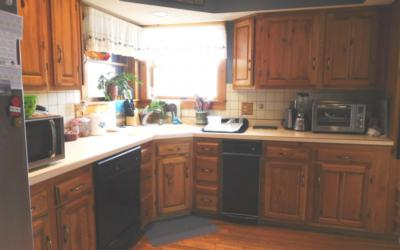 cabinets and appliances in a kitchen