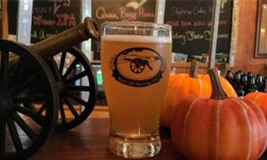 beer glass with pumpkins