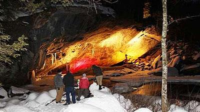 cave in winter