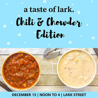 chili and chowder samples with details about a taste of lark