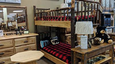 rustic bunk beds with buffalo plaid blankets