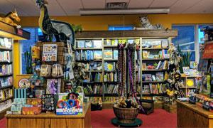 books and toys on display in a store