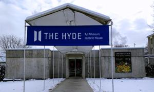 exterior of the hyde museum in winter