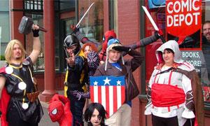 people dressed in comic book characters