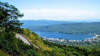 view of lake george from prospect mountain overlook