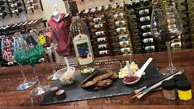 wine tasting setup and painted wine glasses