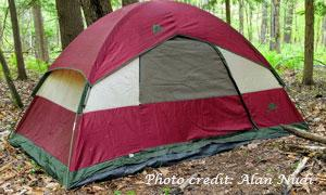 red camping tent