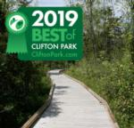 trail in clifton park with best of badge
