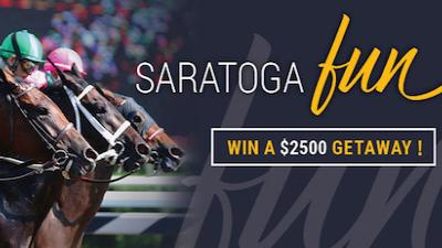 "horses with text ""Saratoga Fun: Win A $2500 Getaway!"""