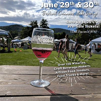 wine glass with text about the adirondack wine & food festival