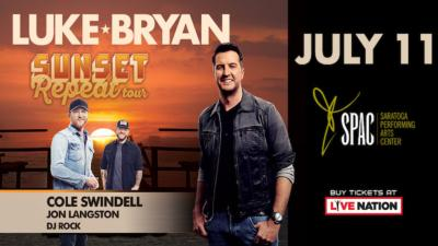 Luke Bryan concert July 11th with image of Luke Bryan in front of a sunset