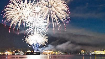 fireworks over lake George with Lac du Saint Sacrement!