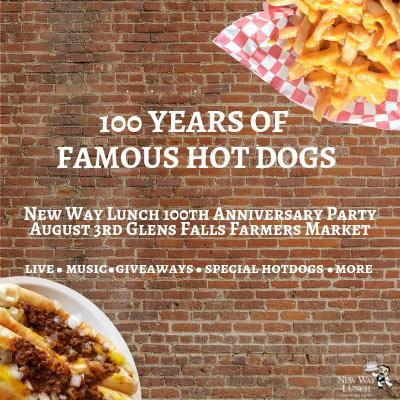 brick background with hot dogs, fries, and text about new way's 100th anniversary party