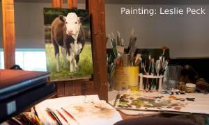 cow painting in studio
