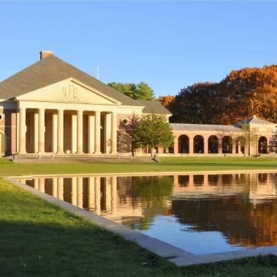spa park building in fall