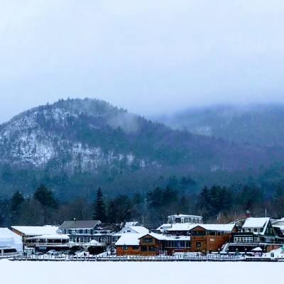 winter scene in Lake George