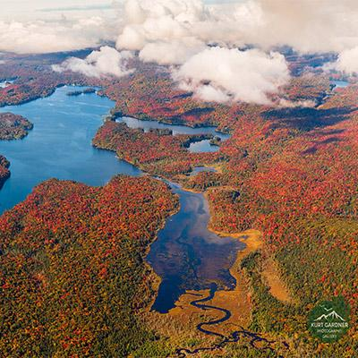 aerial view of fall foliage and lakes