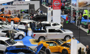 overhead view of an auto show